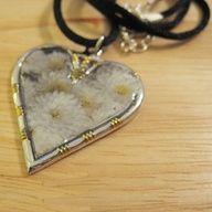 Photo Pendant Necklace  White Mums Heart  FREE by JudiFitzPatrick, $24.99