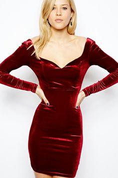 Velvet Crush! 17 Pieces We're Swooning Over #refinery29: ASOS Velvet Sweetheart Body-Con Dress, $55.56, available at ASOS.