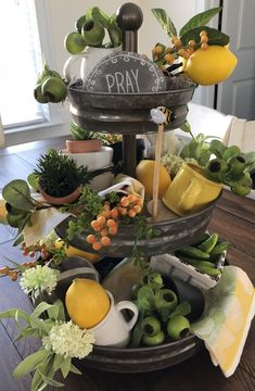 Tray Decoration Ideas New 40 Nice Three Tier Stand Decor Ideas Page 18 Of 48 Lemon Kitchen Decor, Diy Kitchen Decor, Kitchen Ideas, Galvanized Decor, Tiered Stand, Tiered Server, Tuscan Design, Mediterranean Home Decor, Tuscan Decorating