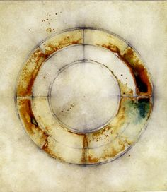 """""""Sky/Earth"""" #9 by Luisa Sartori - Ink, graphite, oil on paper 9"""" x 11""""  2005 #mixed_media #circle"""