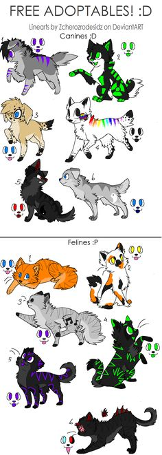 2, 3 , and 4 of canines are mine and 2 of felines are mine but feel free to tell me which ones you want! ;3