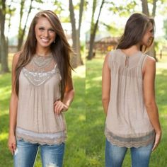 • Chiffon Blouse Taupe color, lightweight chiffon top with lace details.  White tank shown under top in photo not included. Tops Blouses