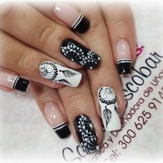 Uñas Bling Nails, Red Nails, White Nails, Sophisticated Nails, Stylish Nails, Feather Nails, Nail Art Designs Videos, Colorful Nail Designs, Cute Acrylic Nails