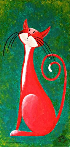Original Cat-Gemälde zu verkaufen: Fantasy von NaturelandsAndCo