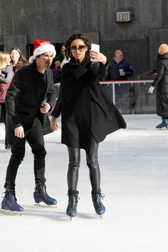 Tyler Blackburn and Shay Mitchell take a selfie while ice skating at Winter Wonderland. | Pretty Little Liars | ABC Family