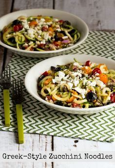 Greek-Style Zucchini Noodles with Tomatoes, Olives, and Feta - Serve warm or at room temperature, with more Feta crumbled over the top if desired.