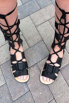 NUOVO!!!  Scarpe di sandali gladiatore Pelle
