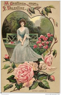 1910 Roses and Hearts, Pretty Woman Baumann Valentine's Day Holiday Postcard, UB My Sweet Valentine, Valentines Day Holiday, Victorian Valentines, Valentine Images, Valentines Greetings, Vintage Valentine Cards, Valentines Art, Saint Valentine, Valentine Day Cards