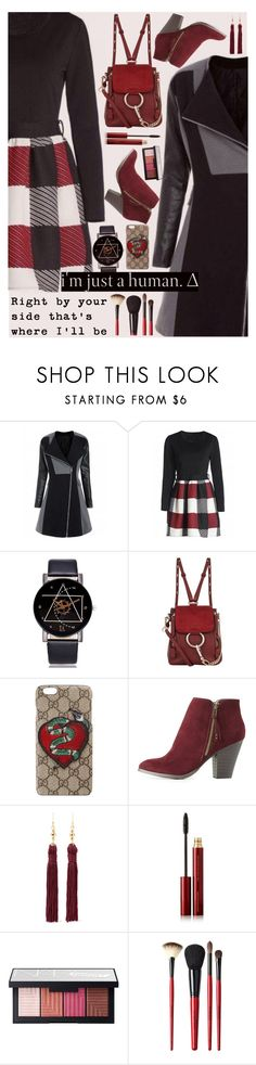 """""""Check It: Plaid ♥"""" by av-anul ❤ liked on Polyvore featuring Chloé, Gucci, Charlotte Russe, Kenneth Jay Lane, Kevyn Aucoin, NARS Cosmetics and Smashbox"""