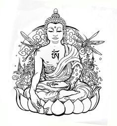 drawing of the buddha Buddha Tattoo Design, Buddha Tattoos, Arm Tattoos, Sleeve Tattoos, Buddha Lotus, Buddha Art, Buddha Flower, Arte Chakra, Colouring Pages