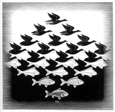 Sky and Water by M.C. Escher. Classic.