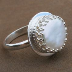 Tudor Pearl Ring Sterling Silver Freshwater Pearl by KiraFerrer, $72.00