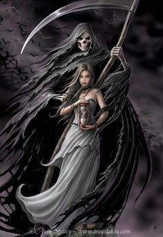 Art by Anne Stokes (Ironshod) Fantasy Myth Mythical Mystical Legend Elf Elves Sword Sorcery Magic Witch Wizard Sorceress Demon Dark Gothic Goth Demoness Darkness Castle Dungeon Realm Dreamscapes Skull Reaper Dark Fantasy Art, Fantasy Kunst, Dark Art, Dark Gothic Art, Anime Fantasy, Anime Mascaras, Grim Reaper Art, The Reaper, Dark Reaper
