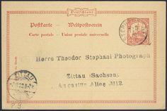 German Colonies, DP-Neuguinea 1900, 10 Pfg.-GA-Postkarte, von Stephansort nach Zittau (Mi.-Nr.P 9/Mi.EUR 70,--). Price Estimate (8/2016): 20 EUR.