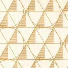 Textilwachstuch, Weiß mit goldener Grafi