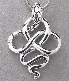 CELTIC KNOT SNAKE PENDANT 925 Sterling SILVER 30mm Drop NEW - Serpant