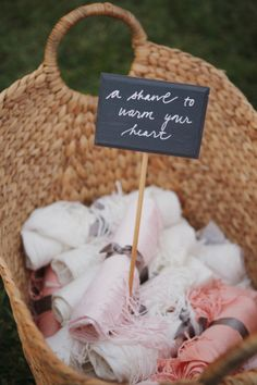 Shawl favours - cute idea for outdoor weddings!