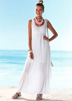 Stay simple and gorgeous in our White Crochet bust maxi dress available in sizes 2-14.