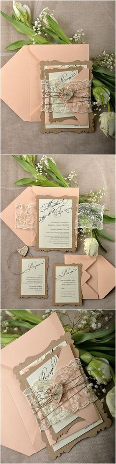 Rustic Eco Peach Lace Laser Cut Wedding Invitation Kits - Deer Pearl Flowers