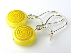 Yellow millefiori glass swirl bead dangling earrings, $7.23 by meecreation on #zibbet
