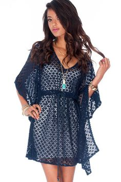 Once a Poncho Time Dress in Navy $30 at www.tobi.com