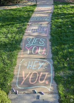 Sidewalk chalk messages created by Hallmark writers and designers, with ideas and tips for creating your own chalk drawings in your neighborhood. Street Art News, Street Art Graffiti, Graffiti Artists, Chalk Lettering, Graffiti Lettering, Chalk Art Quotes, Crayola Chalk, Chalk Design, Sidewalk Chalk Art