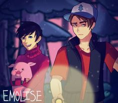Dan and Phil + Gravity Falls   Dipper and Mabel   and Waddles   by emolise