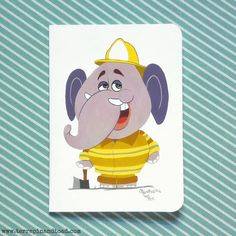 Fireman elephant greeting card by #TerrapinAndToad.  A fun, brightly coloured cartoon elephant greeting card. Perfect for a little boys birthday.