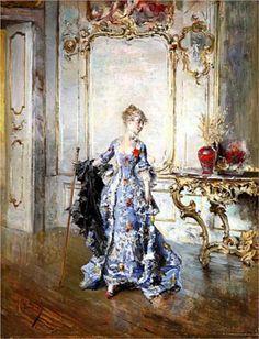 """""""The Last Look in the Mirror"""", c. 1870s, by Giovanni Boldini (Italian, 1842-1931)."""