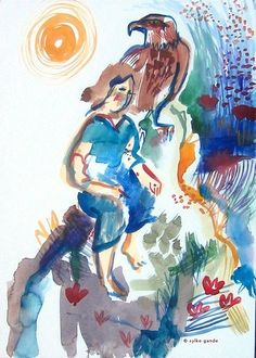 Woman and eagle, watercolour, 2013