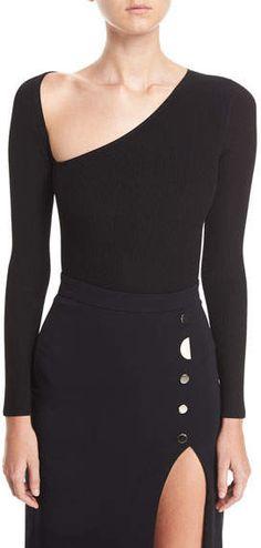 21702b43c9f Cushnie Et Ochs Vivian Asymmetric Long-Sleeve Bodysuit