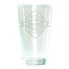 Pub Glass - 16oz - Diamond with Banner Personalized