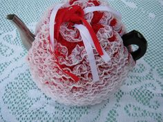 Vintage  Tea Cosy  Red and White Lacy  by jennylouandpatsytoo