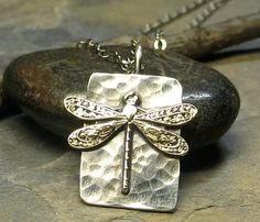 Dragonfly Pendant in Sterling Silver - La Petite Dragonfly. $34.00, via Etsy.