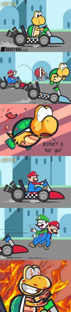 All is fair in Mario Kart. Video Games Funny, Funny Games, Funny Cartoons, Funny Comics, Funny Cute, Hilarious, Mario Funny, Online Comics, Humor Grafico
