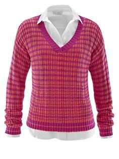 Pullover in attraktiver Strickoptik mit Streifen-Dessin. Die Abschlüsse sind in Rippenstruktur gearbeitet. Figurbetonte Form, Länge in Gr. 38 ca. 55 cm. 100% Baumwolle, waschbar....