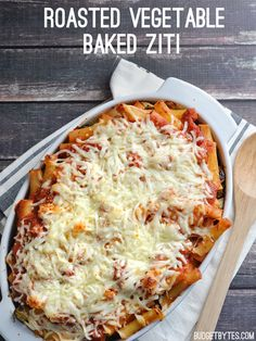 A medley of oven roasted vegetables give this Roasted Vegetable Baked Ziti a sweet and smoky flavor, tons of texture, and a nutritious boost!- BudgetBytes.com