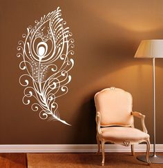 Peacock Feather Wall Decal Vinyl Stickers Bird Plumage Patterns Home Interior Design Art Murals Bedroom Wall Decor Wall Decals For Bedroom, Bedroom Murals, Wall Decor Stickers, Vinyl Wall Decals, Home Decor Bedroom, Budget Bedroom, Girls Bedroom, Feather Wall Decor, Peacock Decor