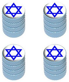 """Amazon.com : (4 Count) Cool and Custom """"Diamond Etching Star of David with Easy Grip Texture"""" Tire Wheel Rim Air Valve Stem Dust Cap Seal Made of Genuine Anodized Aluminum Metal {Blue and White Colors} : Sports & Outdoors"""