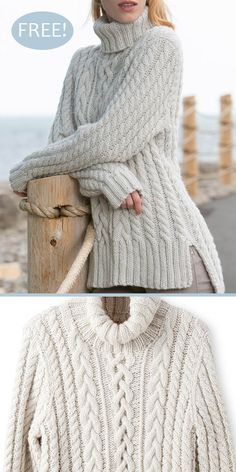 Free Knitting Pattern for Split Hem Cable Pullover - Long-sleeved tunic sweater . Free Knitting Pattern for Split Hem Cable Pullover - Long-sleeved tunic sweater with a variety of cables desribed in bot. Outlander Knitting Patterns, Cable Knitting Patterns, Jumper Knitting Pattern, Jumper Patterns, Designer Knitting Patterns, Loom Knitting, Pull Torsadé, Cable Knit Sweaters, Irish Sweaters