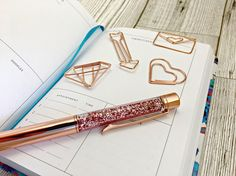 Rose gold floating glitter pen metallic glitter pen sparkle