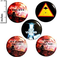 Funny Alien Button 5 Pack Backpack Pins Just Visiting I Believe Caution Aliens It's Aliens Isn't It Abduction Sci-Fi Humor Gift Set Funny Buttons, Cool Buttons, Work Jokes, Aliens Funny, Work Gifts, Funny Pins, Funny Memes, Funny Quotes, School Gifts