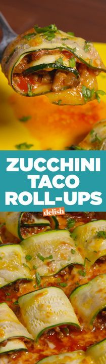 Zucchini Taco Roll-Ups will slash calories from your next Taco Tuesday. Get the recipe from http://Delish.com.