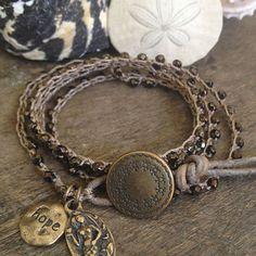 """Mermaid Crochet Multi Wrap & Leather Bracelet, Anklet """"Hope"""""""