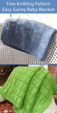 Free Knitting Pattern for Easy Sunny Baby Blanket - Web version only. This easy blanket is created with just knit and purl stitches. Designed by Lucie Sinkler and rated very easy by hundreds of Ravelrers. Worsted weight yarn. Pictured projects by Jodiep and dls1149 Easy Blanket Knitting Patterns, Free Baby Blanket Patterns, Beginner Knitting Patterns, Baby Hats Knitting, Knitted Baby Blankets, Free Knitting, Knit Patterns, Knitting Projects, Craft Projects