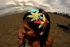 Rainbow Marijuana Leaf Hair Clip and Headband in One