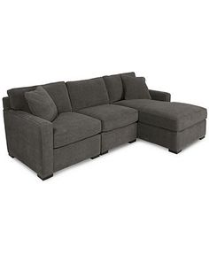 Radley Fabric Modular Sectional Sofa, 3-Piece (End Unit, Armless Chair, and Chaise )