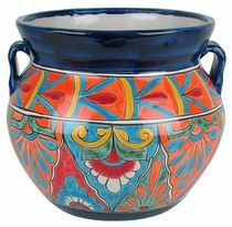 Mexican Pottery Talavera Rounded Flower Pot