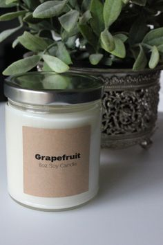 grapefruit soy candle, great jar & label