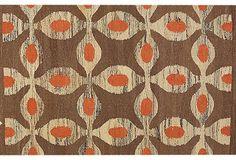 brown, orange flatweave rug